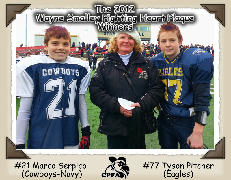 The 2012 Wayne Smalley Fighting Heart Winners - #21 Marco Serpico & #77 Tyson Pitcher